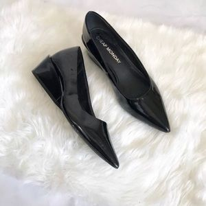 Cheap Monday Black Cat Pointed Block Wedge Heels